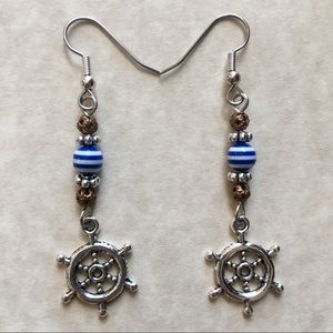 Jewelry - Boating Earrings Nautical Ship Wheel Cruise Blue